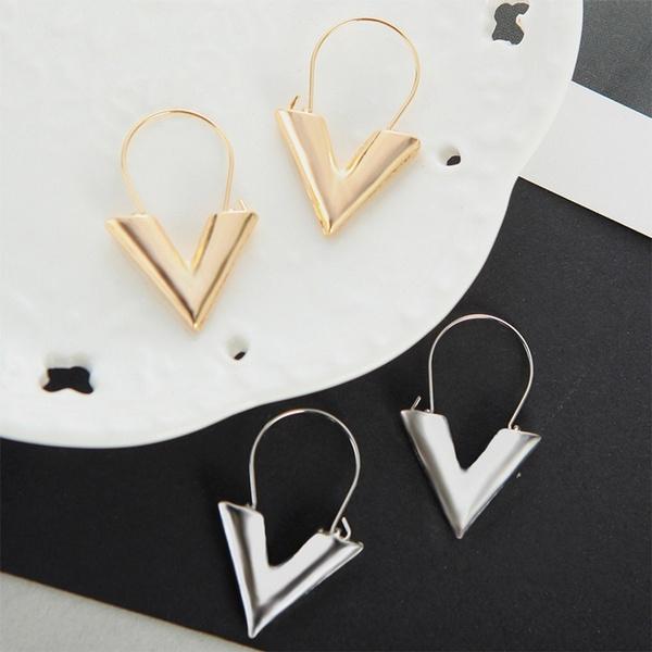 Womens Simple Metal Letter V Shape Earrings Wind Ear Stud Fashion Jewelry Gifts