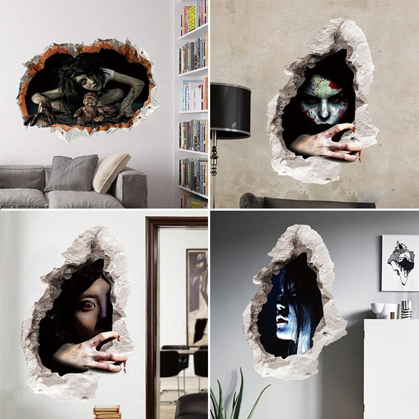 3d Funny Horrible Ghost Wall Stickers Halloween Decorative Wallpaper Bar Haunted House Decor