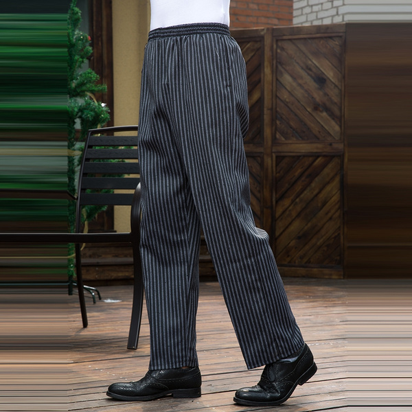 514291e4b71030 Wish | Men Striped Elastic Waist Workwear Pants Cozinha Hotel Chef Cooking  Waiter Workwear Food Service Unisex Kitchen Trousers
