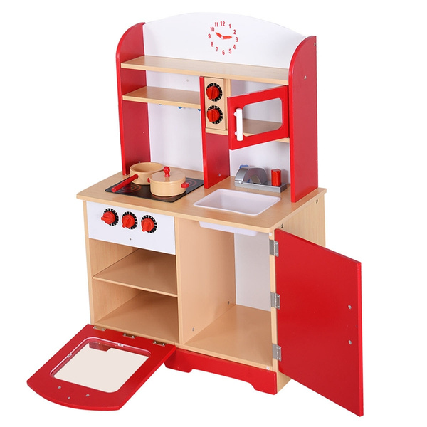 Wood Kitchen Toy Kids Cooking Pretend Play Set Toddler Wooden Playset New