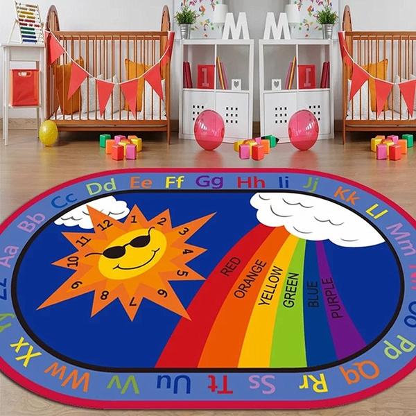 Cartoon Anti Skid Kids Area Rugs Oval