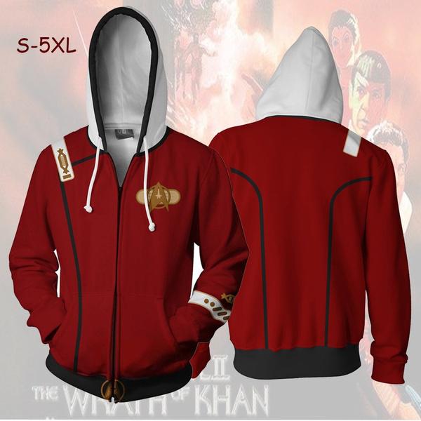 Star Trek Hoodie Zipper Sweater Men/'s Casual Hooded Cosplay Costume