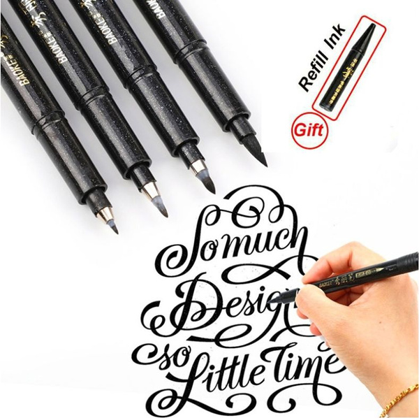 Fashion Creative Soft Ink Pen Copybook Calligraphy Art Design Check In Pen Sketch Pen Brush Pen 4 Kinds Of Choices Can Be Refilled With Ink Wish