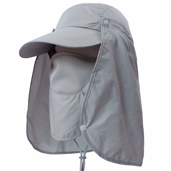 Outdoor Fishing Hiking Boonie Hunting Snap Hat Brim Ear Neck Cover Sun Flap Cap