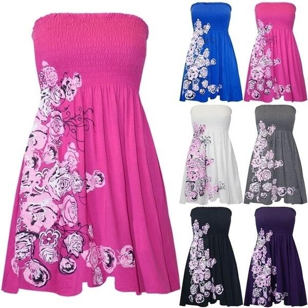 Womens Ladies Floral Printed Sheering Boobtube Strapless Gathered Bandeau Top
