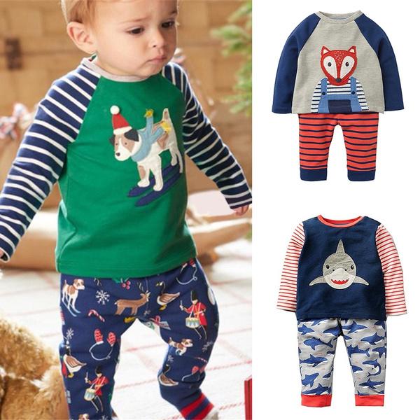 Boys Long Sleeve Animal Appliques Clothing Set