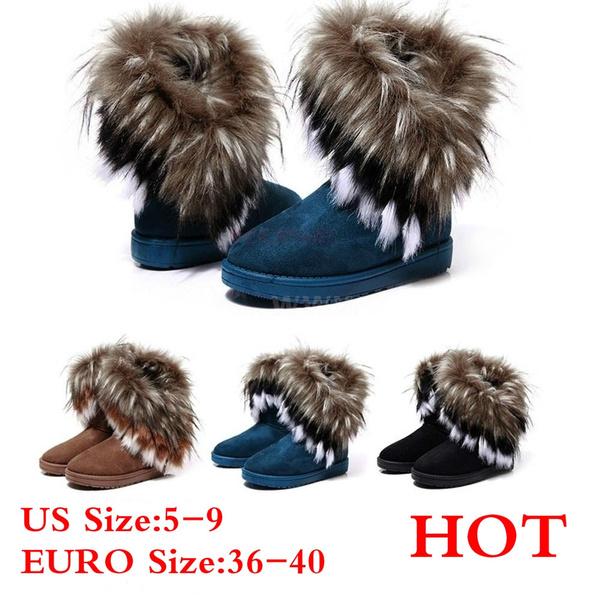 7f6e7b1403396 Winter Fox Rabbit Fur Tassel Suede Snow Boots Women's Fashion Shoes
