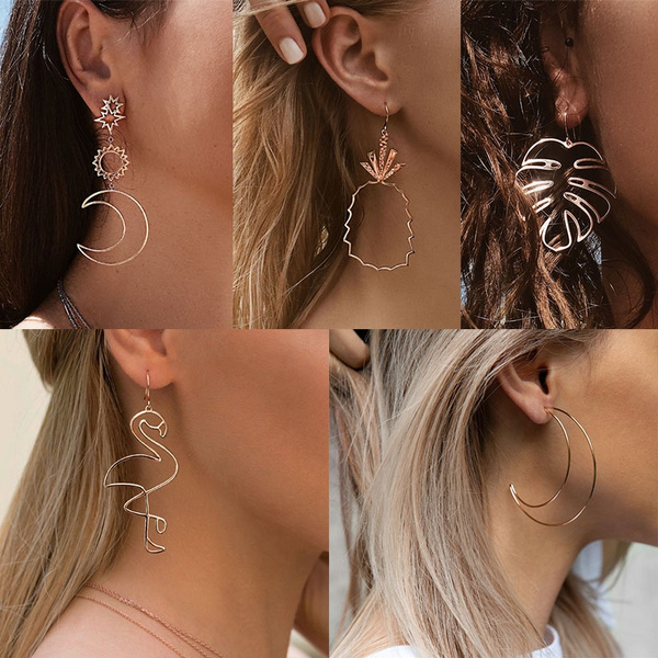 Star, gold, Simple, Earring