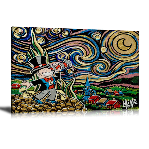 Alec Monopoly HD Print Oil Painting Home Decor Art on Canvas Cartoon Unframed