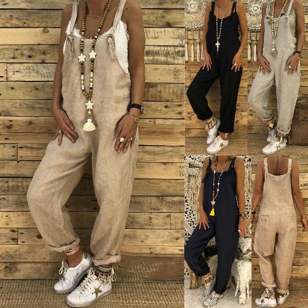 Autumn Summer Ladies Casual Loose Tank Jumpsuit Long Suspender Overalls Bib Pant