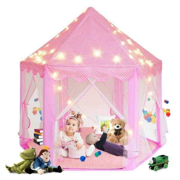 the latest d5401 855ac Folding Outdoor Kids Playing House Princess Castle Girls Play Tent With LED  Star Lights