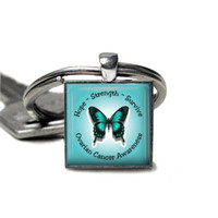 The New Ovarian Cancer Awareness Keychain Gift For Women Keyring Key Chain Initial Birthstone Personalized Customgift Wish
