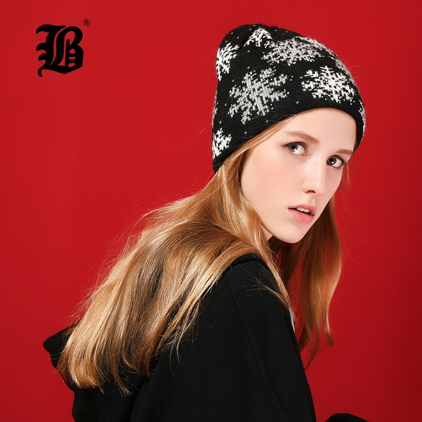 3138e7829 FLB Winter Beanie Women Hat Thicken Wool Snowflake Caps Knitted Skullies  Beanies Bright silk Warm Slouchy Hats For Girl 17036