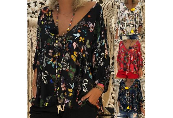 Women's Fashion Casual V-Neck Butterfly Print Long Sleeve Ruffle Loose Top T-Shirt Blouse
