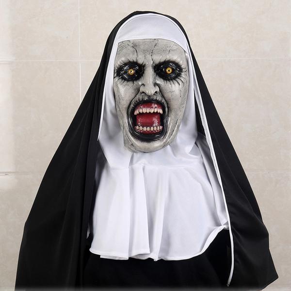 2018 Horror Movie The Nun Valak Cosplay Face Mask Scary Headscarf Full Head Veil