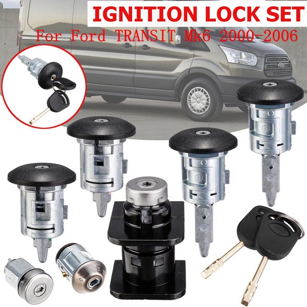 Key Cylinder Door Lock Ignition Complete Set for Ford Transit 2000-2006