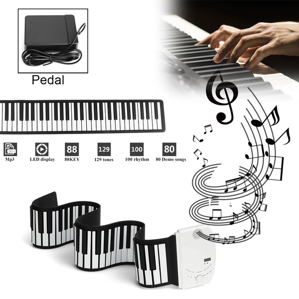 88 Keys Foldable Portable USB Flexible Electric Digital Roll Up Piano  Keyboard électronique Elektronische Orgel