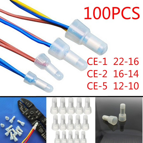 100 X  AWG 16-14 Closed End Crimp Cap Gauge Car Audio Wire Connector Terminals
