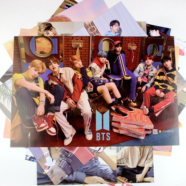 8Pcs/set Kpop BTS Love Yourself Album HD Photo Embossed Poster Mural Korean  Star Bangtan Boys Wall Stickers Wallpaper Home Decor