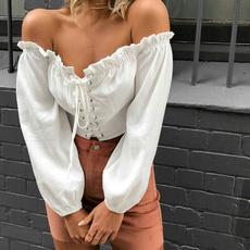 blouse, Shorts, crop top, Lace