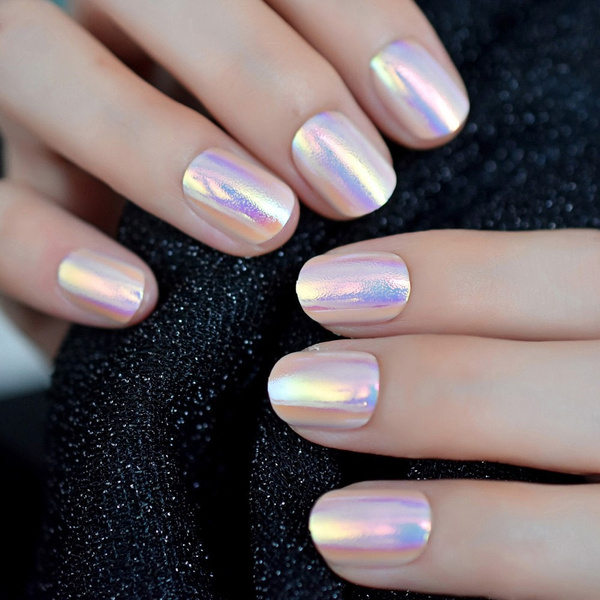 Magic Color Holo Chameleon Pink Purple False Nails Abalone Shell Gold Light  Short Round Fake Nail Full Cover Finger Tips