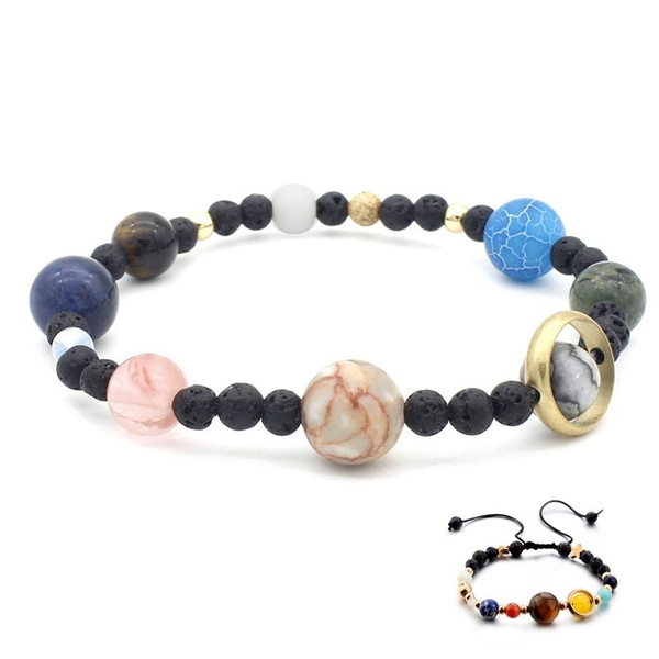 Jewelry & Accessories Fashion Necklace Universe Galaxy The Eight Planets In The Solar System Natural Stone Beads Necklace For Women Jewelry Accessorie