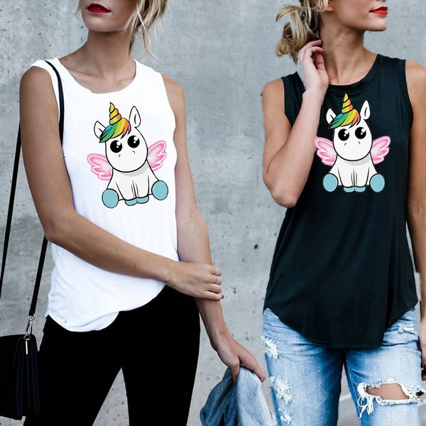 fashion-summer-cute-unicorn-printed-tank-tops-vest-women-top-sleeveless-shirt by wish