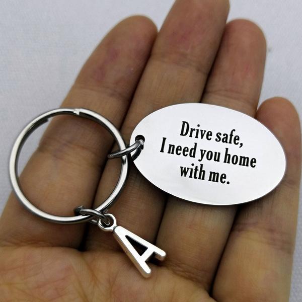 Personalized Engraving Keychain Drive Safe Keychain Couples Boyfriend  Girlfriend Jewelry Key Chain