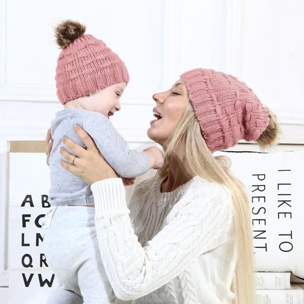 107df5ccc Winter Warm Family Matching Knit Hat Pompon Baby Beanie Adult Fashion Cap