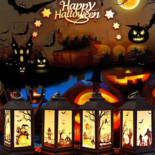 Holiday Lighting New Halloween Vintage Pumpkin Castle Light Lamp Party Hanging Decor Led Lantern