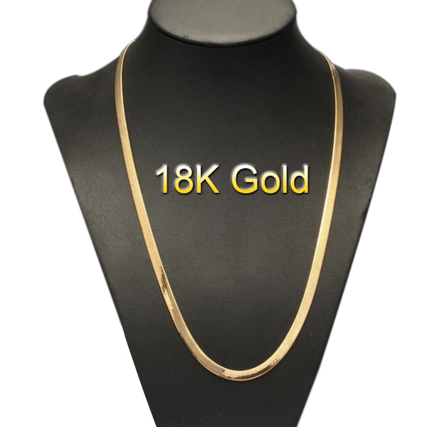 Fashion Men And Women 18k Gold Plated Snake Chain Necklace High Quality Flat Italy Gold Necklace Wish