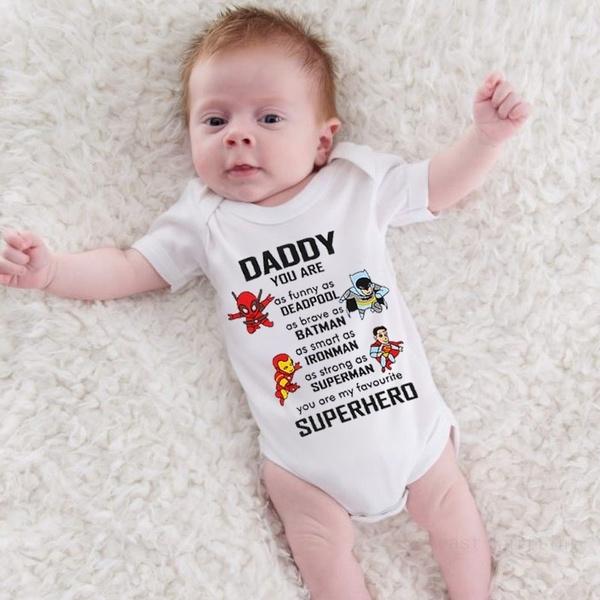 0a918345 Daddy You Are My Superhero Cute Baby Boys Girls Playsuit Onesie ...