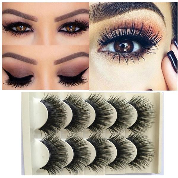 8f38d7bab83 5 Pairs Fashion Natural Make up Long Cross Fake Eye Lashes Handmade Thick  Black False Eyelashes Extension Beauty Makeup Tool | Wish