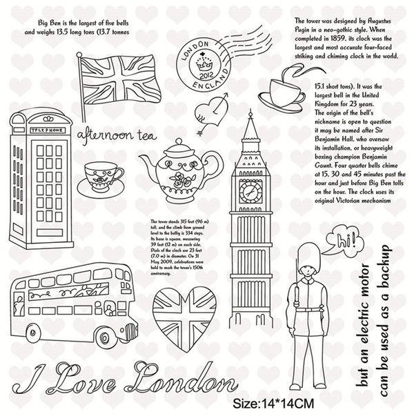 14*14cm Rubber Clear Stamps For Scrapbooking Card Making Decorative Clear  Stamp England Landmark Building Stamps