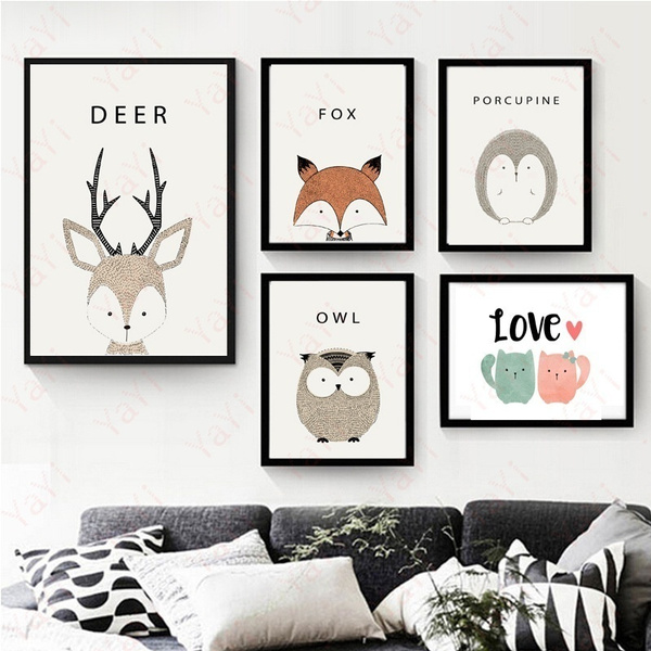 Unframed Cartoon Animal Fox Owl Deer Bear Oil Printed Canvas Prints Modern Home Decor Poster Mural Wall Art Painting Picture Wall Art For Kid Room