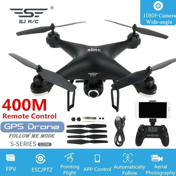 Professional S20W GPS FPV Drone with 1080P HD Wide-angle WIFI Adjustable  Camera+GPS Precise Positioning+400M Remote Distance+Follow Me Mode+Path