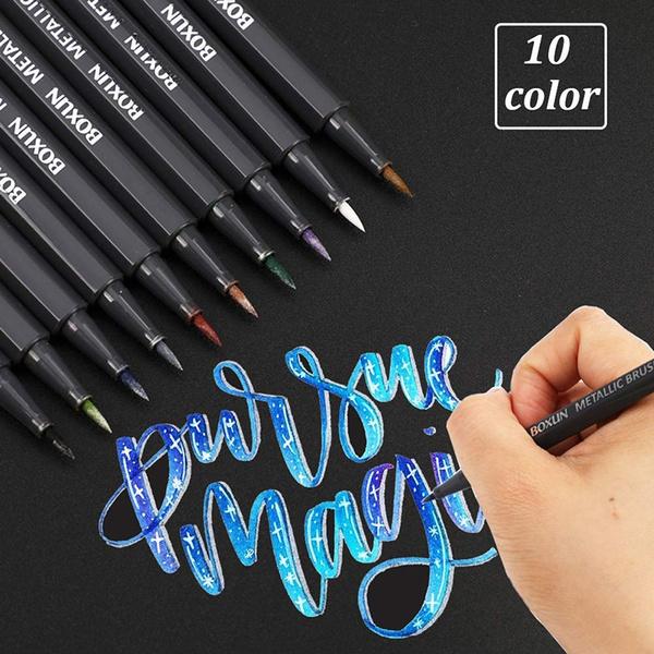 Metallic Art Brush Marker Pens For Lettering Set Of 10 Colors Calligraphy Painting Pens For Black Paper Scrapbook Script Lettering Mug Design