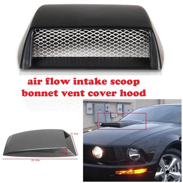 Air Flow Vent Hood Scoop Black Universal Car Air Flow Intake Scoop Turbo Bonnet Vent Cover Sticker Hood Black