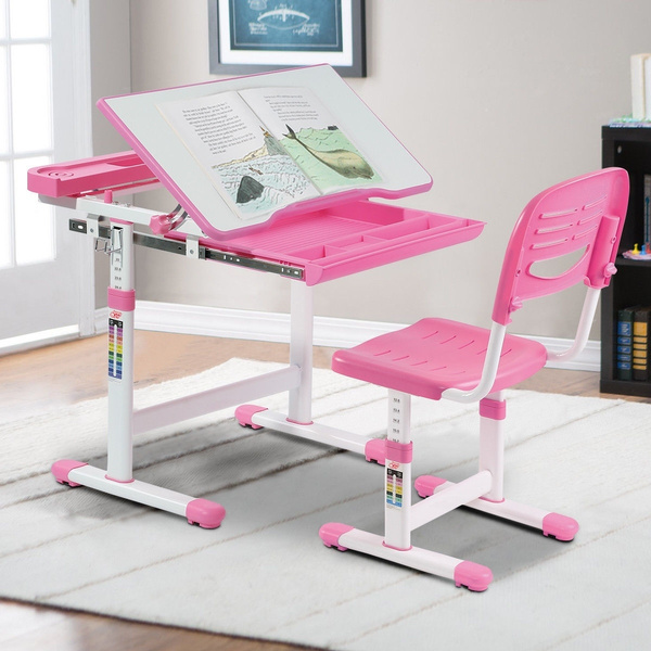 Stupendous Height Adjustable Childrens Desk Chair Set Multifunctional Study Drawing Pink Gmtry Best Dining Table And Chair Ideas Images Gmtryco