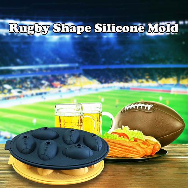 Silicone Rugby Ice Grid Football Mold Ice Cube Maker Beer Whiskey Ball Ice  Cooler Baking Mold