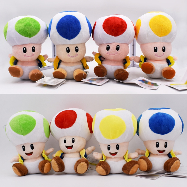 15cm 8 Styles Super Mario Plush Toy Toad Close Open Mouth Mushroom