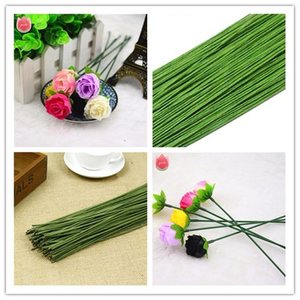 200Pcs//Lot New Artificial Branches Flower Twigs Iron Wire Paper Covered Decor