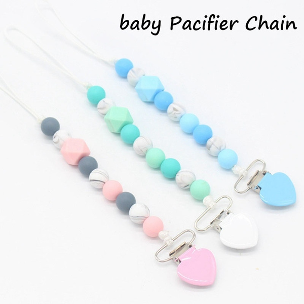 Teether Cute Holder Silicone Bead Pacifier Clip Dummy Teething For Baby Chew