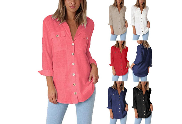 2018 Sexy Women Long Sleeve Blouses V Neck Loose Cotton T Shirts Buttons Office Blouses with Pockets