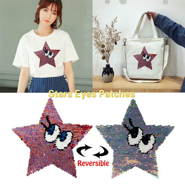 Star Eyes Reversible Change color Sequins Sew On Patch DIY Applique bags crafts