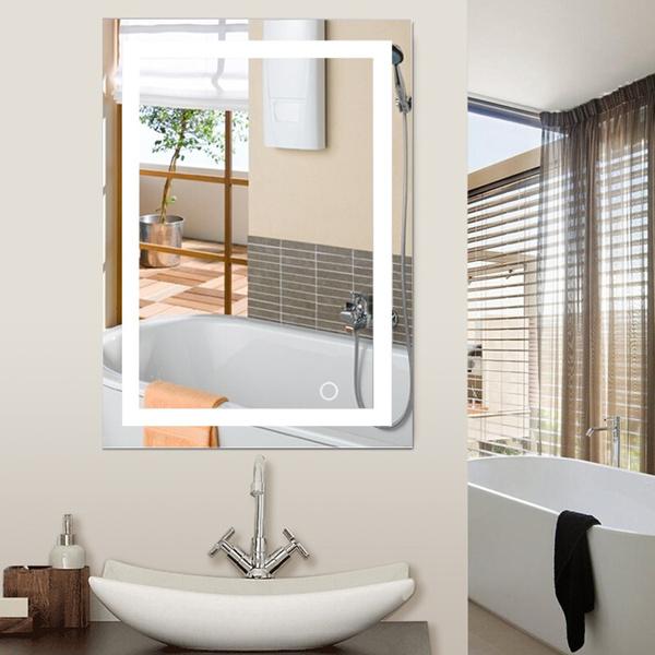Wish | Wandspiegel LED Badezimmerspiegel Beleuchtet Bad Spiegel 60*80cm  Modern 24W TOP FR