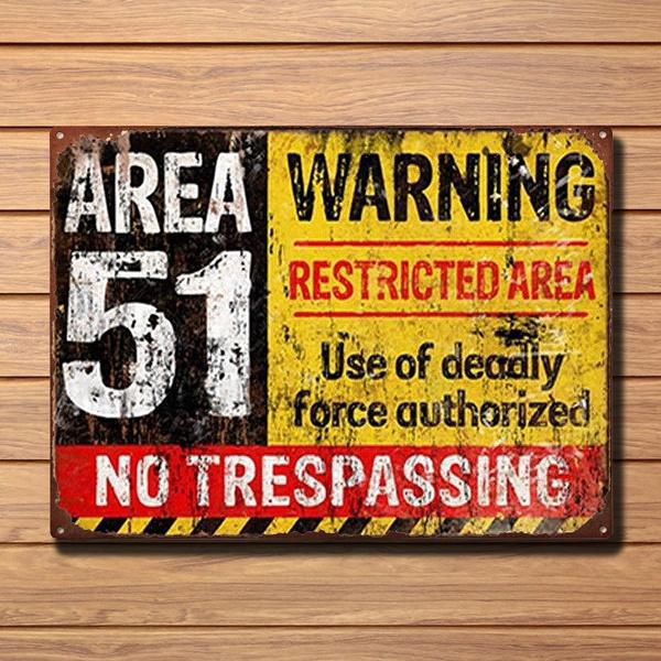 Metal Tin Sign warning no trespassing poster  Decor Bar Pub Home Vintage Retro