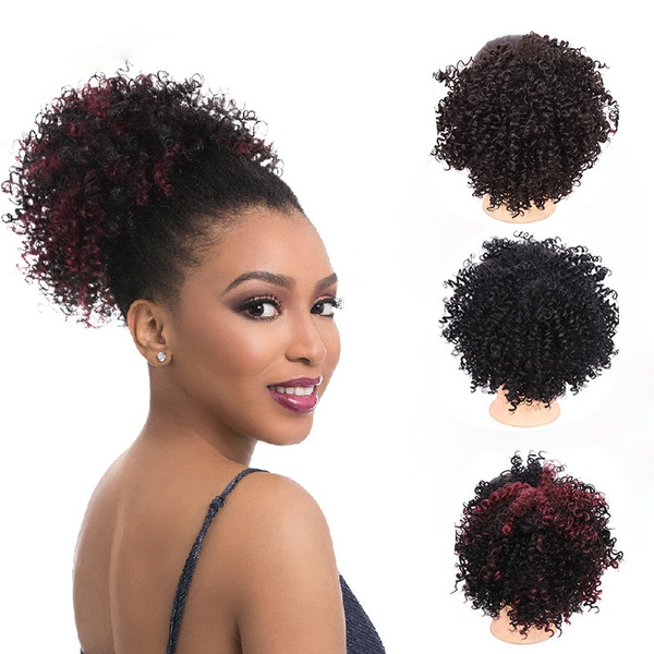 Hair Bun Black Brown Blonde Chignon Hairpiece Fake Ponytail Hair Extensions Wig With Clip Afro Curly Hair Style