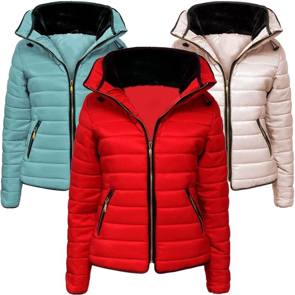 4809bf9665a New Ladies Quilted Padded Puffer Bubble Fur Collar Warm Thick Womens ...