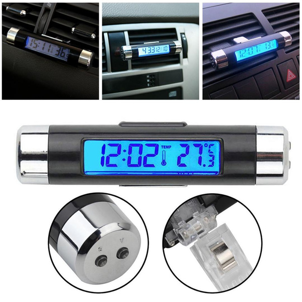 New 2in1 Led Digital Car Clock Thermometer Temperature Lcd Backlight